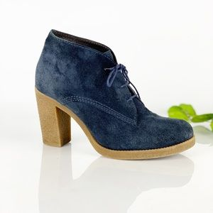 Bata Blue Suede Ankle Booties Lace Up Heel Chukka